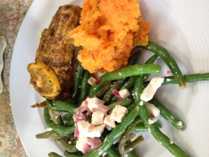 Chicken, green beans, mashed sweet potato